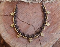 MAGICAL Macrame necklace with brass beads, Tribal hippie jewelry, tribal macrame necklace, choker necklace, choose your color, gift for her