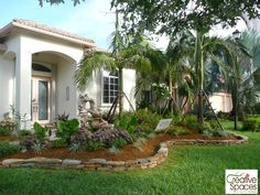 Tropical Front Yard Landscaping Ideas With Palm Trees  Backyard - Florida landscaping ideas for front yard