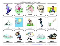 S-Blends (/sk/, /sw/): Free Speech Therapy Articulation Picture cards