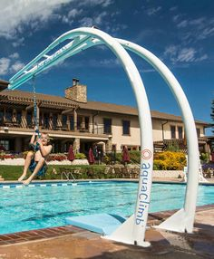 Daredevils of all ages will love this thrilling new way to launch into the pool! The revolutionary and highly aesthetic design of the Aqua Zip' N allows for a clean entry into the water while eliminating swing back with its arching frame.