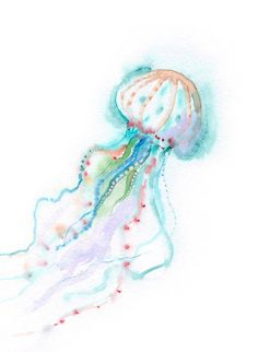 Jellyfish print, Sea Life art, diving-lover gift, Deep Sea creatures, Underwater world watercolor pa - Aquarell Malen Watercolor Jellyfish, Jellyfish Art, Watercolor Sea, Watercolor Paintings, Jellyfish Light, Jellyfish Drawing, Jellyfish Tattoo, Tattoo Watercolor, Jelly Fish Watercolor