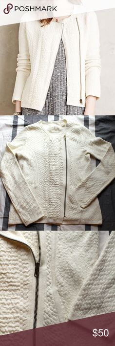 "Anthropologie Angel of the North sweater – small Anthropologie ""Textured Vero Jacket"" in ivory. Textured Pima cotton, nylon, cashmere, lycra. Zip front. Hand wash. Like new, worn one evening. Very soft and comfortable. Selling for $70 on the Anthro website currently. Price is negotiable. Thanks for looking! Anthropologie Jackets & Coats Blazers"