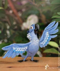 """Купить Попугайчик из """"РИО"""",Голубчик)) - голубой, попугайчик, птица игрушка, валяная игрушка, попугай"""