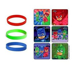 24 pj masks party favor stickers amp 12 youth wristbands green red blue hero