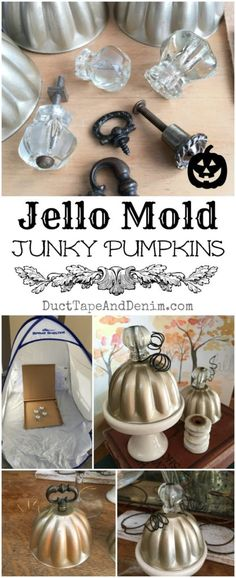 to Make Junky Pumpkins with Vintage Jello Molds {VIDEO} Jello mold junky pumpkins, spray paint vintage jello molds. Details on Junkie Junkie usually refers to: Pumpkin Crafts, Fall Crafts, Holiday Crafts, Fall Halloween, Halloween Crafts, Halloween Decorations, Vintage Jello Molds, Upcycled Home Decor, Repurposed