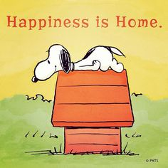 Happiness is home / Snoopy / Peanuts Gang Peanuts Snoopy, Peanuts Cartoon, Charlie Brown And Snoopy, Peanuts Comics, Snoopy Love, Snoopy And Woodstock, Peanuts Quotes, Snoopy Quotes, Cartoon Quotes