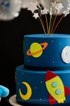 2nd Birthday Party Themes, Second Birthday Ideas, Baby Birthday, Birthday Decorations, Rocket Cake, Astronaut Party, Outer Space Party, Little Man Party, First Birthdays