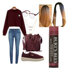 Burgundy Queen by queennicki1019 on Polyvore featuring polyvore fashion style Cheap Monday Puma Burt's Bees clothing