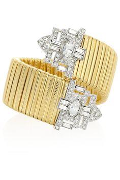 potential #DIY ?? Kenneth Jay Lane|Gold-plated Swarovski crystal cuff|NET-A-PORTER.COM