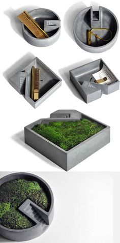 Gray Concrete Pen Pencil Holder Modern Succulent Planter Flower Pot Pen Pencil Holder Office Desk Stationery Organizer Tray