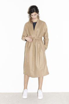 Camel Cashmere Kimono-Robe Coat