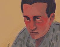 Helin/ John Fante digital painting portrait.
