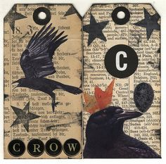 tags Halloween Photos, Halloween 2, Halloween Cards, Christmas Collage, Christmas Tag, Scrapbooking 101, Tweet Tweet, Crows Ravens, Primitive Christmas
