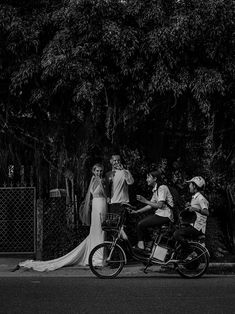 Just Married in Hoi An #HoiAnEventsWeddings #HoiAn #VietnamBeachWeddings #Bicycle #Newlyweds #WeddingPhotography #Vietnam #HoiAnAncientTown #Bridge # Groom  #BlackAndWhite