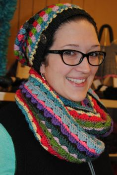 more to make!  hat and matching cowl, multicoloured