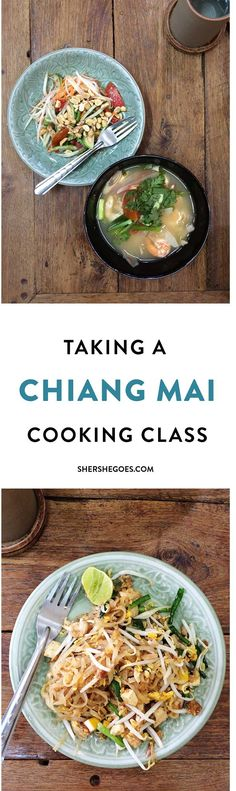 Learning how to make all the Thai classics - pad thai, spring rolls, green curry, chicken & cashews - in Chiang Mai. Read on for my review of the Thailand cooking school and to see what we made!