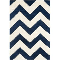 Chatham Dark Blue / Ivory Chevron Area Rug