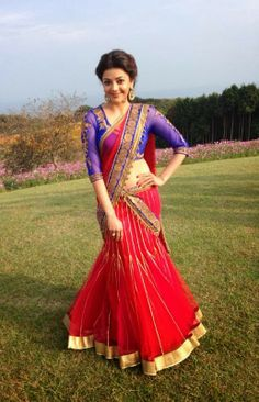 kajal agarwal in red saree Indian Attire, Indian Wear, Indian Style, Beautiful Indian Actress, Beautiful Actresses, Beautiful Saree, Bollywood Celebrities, Bollywood Actress, Indian Dresses