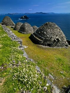 Beehive Huts of the abandonded monastery on the Island of Skellig Michael off the coast of Kerry, Ireland.