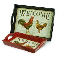 Farmhouse Breakfast Tray, Set of 2 * A rooster and hen bring a dash of country charm to tea time or breakfast in bed. Used for serving or simply displaying, these trays are a chic and versatile.    Color: Burgundy/Black/Cream * $32.99