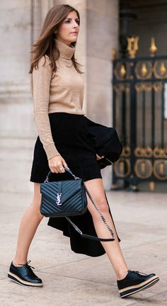 Valerie Husemann  + gorgeous camel polo neck jumper + black mini skirt + fresh take on the brogues trend + colder weather + tights or a scarf!  Outfit: Selected Femme.