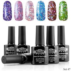 Perfect Summer Gel Nail Polish Art UV/LED Soak Off , 'Party Night' Glitter Colors Kit - Pack of 6, 10ml Each ( Set no.47) -- Read more  at the image link. (Note:Amazon affiliate link)