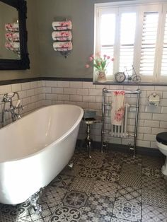 Emma's traditional bathroom features a slipper style freestanding bath, a vintage toilet and period heated towel rail. Emma's traditional bathroom features a slipper style freestanding bath, a vintage toilet and period heated towel rail. Bathroom Styling, Traditional Bathroom Designs, Traditional Bathroom, Traditional Bathroom Tile, Victorian Bathroom, Bathroom Makeover, Vintage Toilet, Cottage Bathroom, Eclectic Bathroom