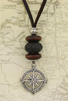 """Compass"" Diffuser Necklace- 18-20"" Leather Cord"