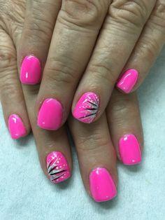 Neon pink with fun accents gel nails nail designs summer art - small Pink Summer Nails, Bright Pink Nails, Pink Gel Nails, Neon Nails, Nail Gel, Hot Pink Pedicure, Pink Toes, Nail Polish, Stiletto Nails
