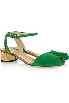 Gucci emerald and gold peep toe sandals