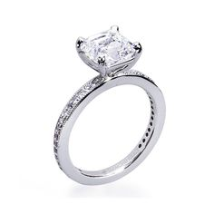 Style LA PETITE: VLC104, 14K white gold with 1 ct square emerald cut diamond, $4,900, Diamond Ideals See more emerald-cut engagement rings. This one is so sweet