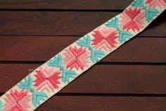 1 Yard-White Fabric Trim-Multi Color Thread by ArtsyCraftsyShoppe