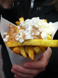Patat Oorlog (French Fry War...french fries with mayo, satay and onions)