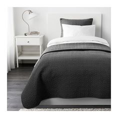 IKEA - ALINA, Bedspread and cushion cover, 180x280/65x65 cm, , Extra soft since the bedspread and cushion cover are quilted.The cushion cover is easy to remove since it has a concealed zipper.Easy to transport and store since the packaging also functions as a storage bag.