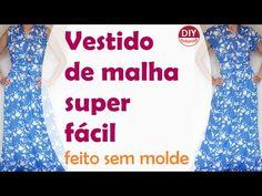 Vestido em malha SUPER FÁCIL - não precisa de moldes, só suas medidas (DIY Tutorial) - YouTube