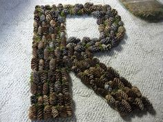pine cones to make the letter of your last name.. with some moss or pine straw mixed in. so cute