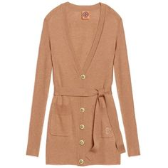 Tory Burch Portia Cardigan ($207) ❤ liked on Polyvore featuring tops, cardigans, sweaters, tory burch, long cardigan, beige top, embroidered cardigan, tie belt and embroidered top
