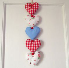 Fabric Heart Garland Reds Florals and Blue by RubyRedcrafts, $10.00