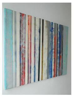 "Large Abstract Schilderij - Striped colors - Acrylic painting - 29,5"" x 45,3"" - Free Shipping, $259.00"