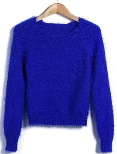Royal Blue Long Sleeve Round Neck Short Mohair Sweater US$31.64
