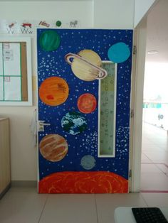 Solar system. Classroom door.