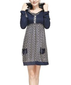 I so want this!! I love the hood!!!Look at this #zulilyfind! Navy & Beige Zigzag Double-Sleeve Scoop Neck Dress #zulilyfinds