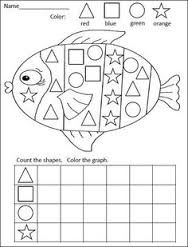 FREE kindergarten math activity for practiciing shapes and graphing= Rainbow Fish Graphing Activities, Kindergarten Math Activities, Homeschool Math, Kindergarten Classroom, Fun Math, Numeracy, Math Activities For Kindergarten, Math Games, Preschool Ocean Activities