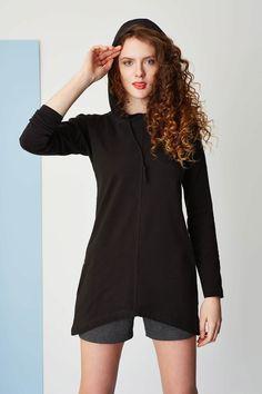 Basic, long black hoodie. Kamila Gronner ss2015. Long Black, Spring Summer 2015, Black Hoodie, Hair Makeup, Rompers, Hoodies, Model, Collection, Dresses