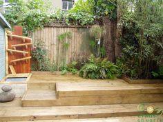 Recycled scaffold boards decking