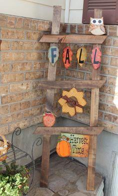 Outdoor seasonal ladder using Bo Bunny Autumn Song for September cut outs.