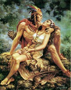 Amor Indio by Jesus Helguera Mexican Artwork, Mexican Folk Art, Mexican Style, Arte Lowrider, Jorge Gonzalez, Hispanic Art, Famous Mexican, Maya, Aztec Culture