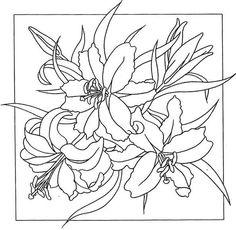 схема росписи для батика лилии