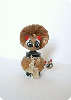 VINTAGE JAPANESE HandCrafted Raccoon Bobble Head by TokyoVintage26, $14.50