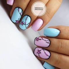 Beach nails Manicure by summer dress Marine nails Pink and purple nails Smart nails Stylish nails Summer nails 2019 Two color nails Two Color Nails, Love Nails, Pretty Nails, Nail Colors, Nail Art Design Gallery, Best Nail Art Designs, Nail Manicure, Diy Nails, Nail Art Arabesque